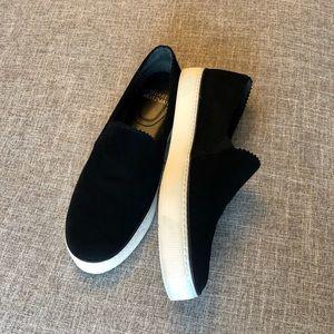 Stuart Weitzman Black Suede Slip On Loafers